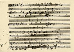 Mozartin Suuren messun c-molli alkua käsikirjoituksesta.