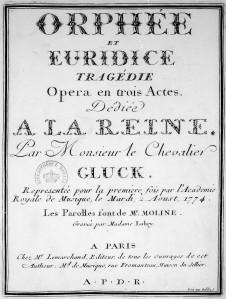 Gluckin Orfeus ja Eurydike -oopperan ranskankielisen edition kansilehti vuodelta 1774.